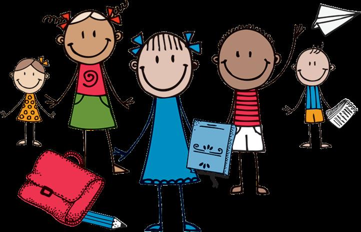 Glade skoleelever, illustrasjon